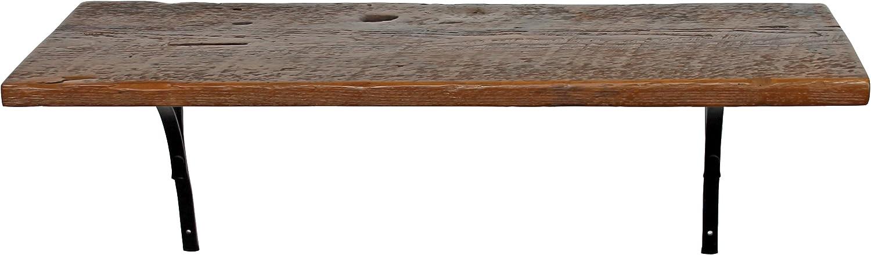 Reclaimed, Wood Shelf, Pine, 42  x 10  x 1 , with Brackets, Antique, Vintage
