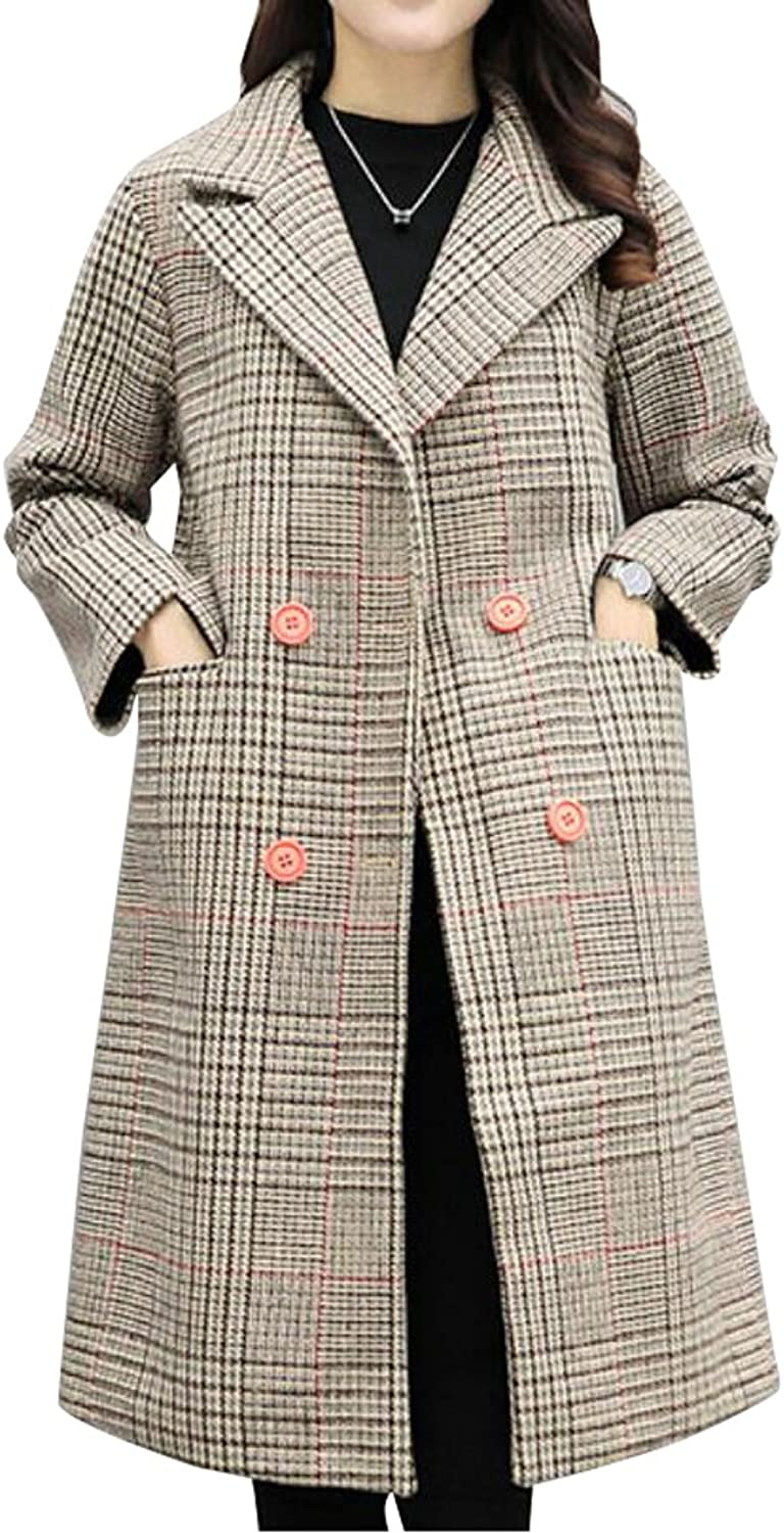 XQS Womens Winter DoubleBreasted Plaid Loose Wool Trench Pea Coat Overcoat