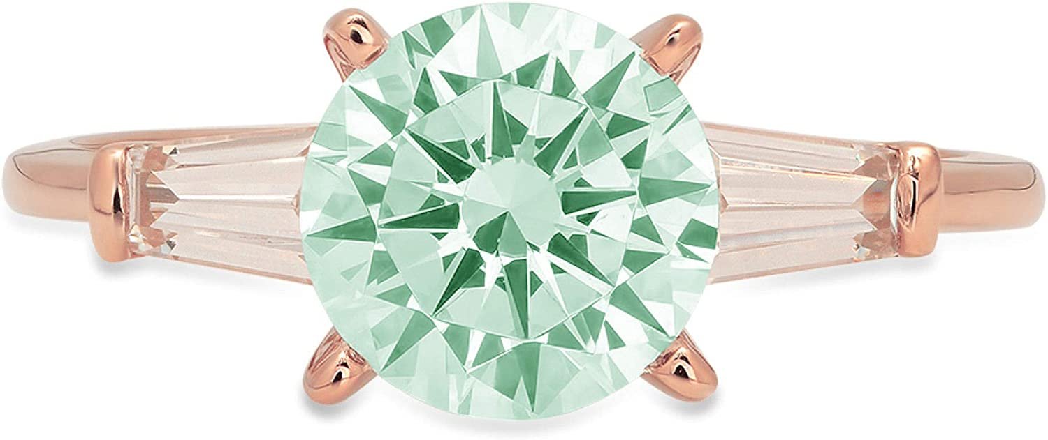 2.05 ct Round Baguette Cut 3 stone Solitaire Stunning Genuine Ideal Simulated Blue Moissanite Modern Promise Statement with accent Designer Ring 18K Rose Gold