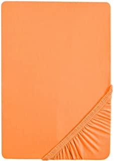 Biberna 77144 Drap housse en jersey stretch, selon Oeko-Tex Standard 100, env. 90 x 190 cm à 100 x 200 cm, Orange