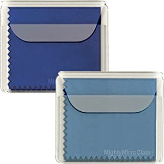 """MightyMicroCloth Microfiber Eyeglass Cleaning Cloths – Vinyl Travel Pouch – Lens Cleaner for Glasses, Camera Lenses, Tablets, Phone Screens, & Electronics – 2 Pack Royal/Blue (10""""x10"""")"""