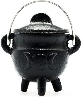 "Sarimoire Cauldron -3"" Triple Moon Cast Iron Cauldron with Lid and Handle - Perfect Incense Smudge Kit Altar Ritual Burning Holder"