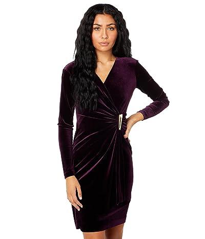 Calvin Klein Velvet Sheath w/ Ruched Waist Dress
