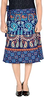 Women's Cotton Printed Knee Length Regular Wrap Around Skirt (W24NT_0005)