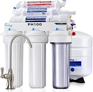 iSpring PH100 Top Quality 6-Stage Under Sink Reverse Osmosis RO Drinking Water Filtration System 100 GPD Fast Flow 1:1 Pure to Waste Ratio with Alkaline Remineralization, pH+, US Made Filters