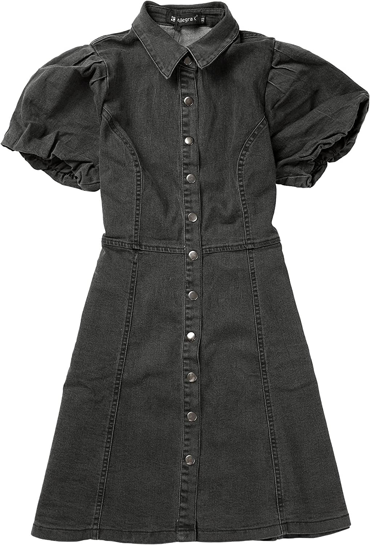 Allegra K New mail order Ranking TOP19 Women's Puff Short Sleeve Front Mini Denim Jean Button