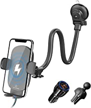 Wireless Car Charger, Gooseneck Qi Fast Charging Car Phone Holder Mount, QC 3.0 Car Charger for Air Vent & Windshield & Dash, 10W Compatible with iPhone 12 Series/11 Pro Max, Samsung Galaxy, LG &More
