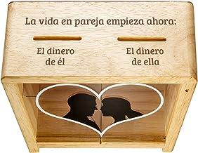 Casa Vivente Hucha Transparente de Madera y Acrílico para Parejas con Grabado Divertido Peso 420 gr