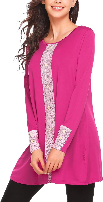 BeautyUU Women Long Flowy Front Lace Long Sleeve Tunic Tops Button Decor