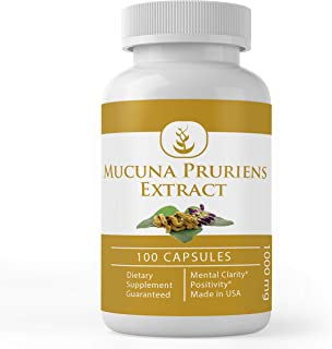 Mucuna Pruriens, 100 Capsules, 1000 mg Serving, Naturally Sourced, No Additives or Fillers, Non-GMO & Gluten-Free, Pure & ...