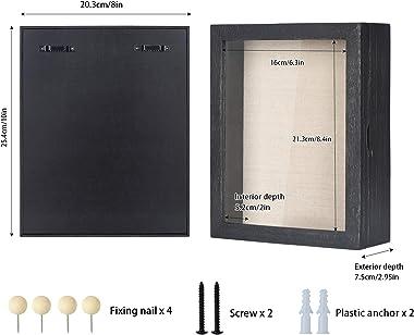 Love-KANKEI Shadow Box Frame 8x10 Shadow Box Display Case with Linen Back Memorabilia Awards Medals Photos Memory Box Rustic