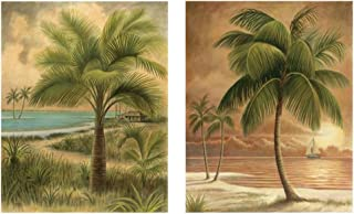 "wallsthatspeak 8"" x 10"" Island Palm Tree Wall Prints for Home (Set of 2), Beach Scene Decor for Bathroom or Office, Nautical/Beach Party Decorations, Hawaiian Art for Living Room"