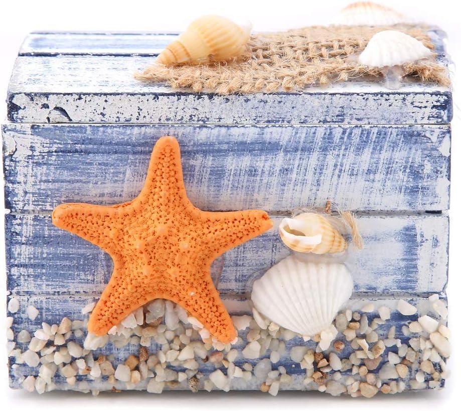 Caja de almacenamiento mediterránea, caja de almacenamiento de estrella de mar de mesa de madera exquisita Ocean Element, para joyería de caramelo