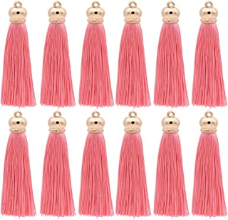 Winrase 80mm Polyester Soft Tassel Ice Silk Tassel End Stopper Pendant Connectors with Gold Tassels Cap for DIY Jewelry Accessories Making / Earring / Curtain / Handbag Pendant,12pcs (Pink)