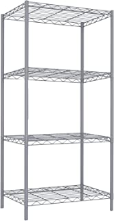 Home Basics 4 Tier Steel Wire Shelf Rack Heavy Duty Storage Shelving Unit for Kitchen Pantry Laundry Garage Closet Utility Organization , Grey