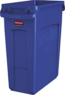 Rubbermaid Commercial Products Slim Jim Plastic Rectangular Trash/Garbage Can with Venting Channels, 16 Gallon, Blue (1971257)