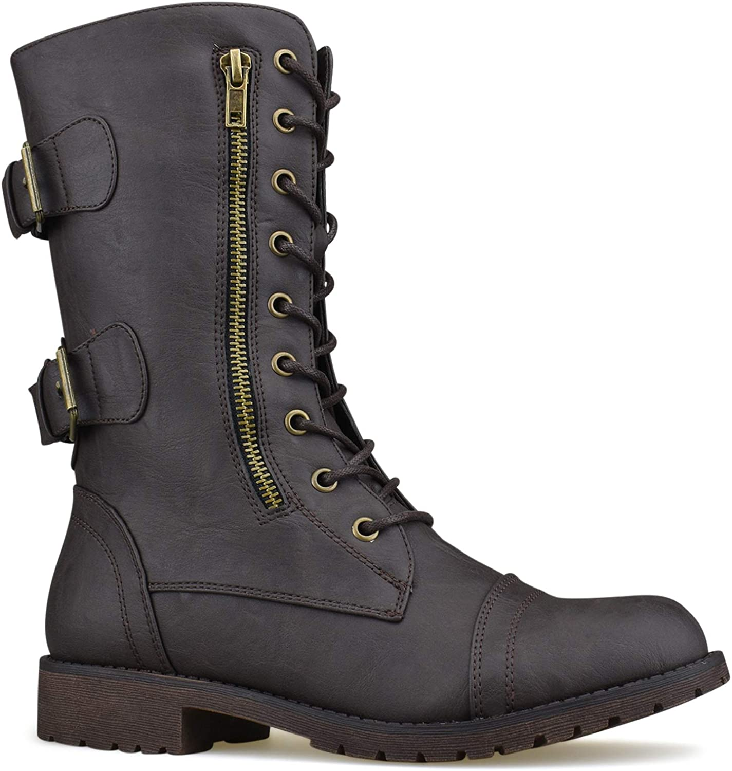 Premier Standard Women's Military Ankle Lace up Buckle Combat Boots Mid Knee High Exclusive Booties