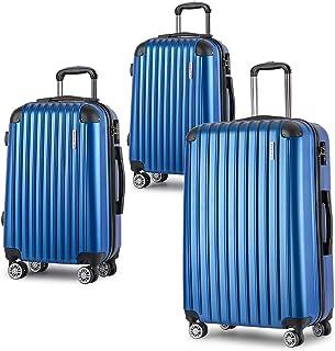 Luggage Set 3 Piece Baggage Suitcase Lightweight Expandable Hardside Spinner TSA Carry On 8 Wheel Blue