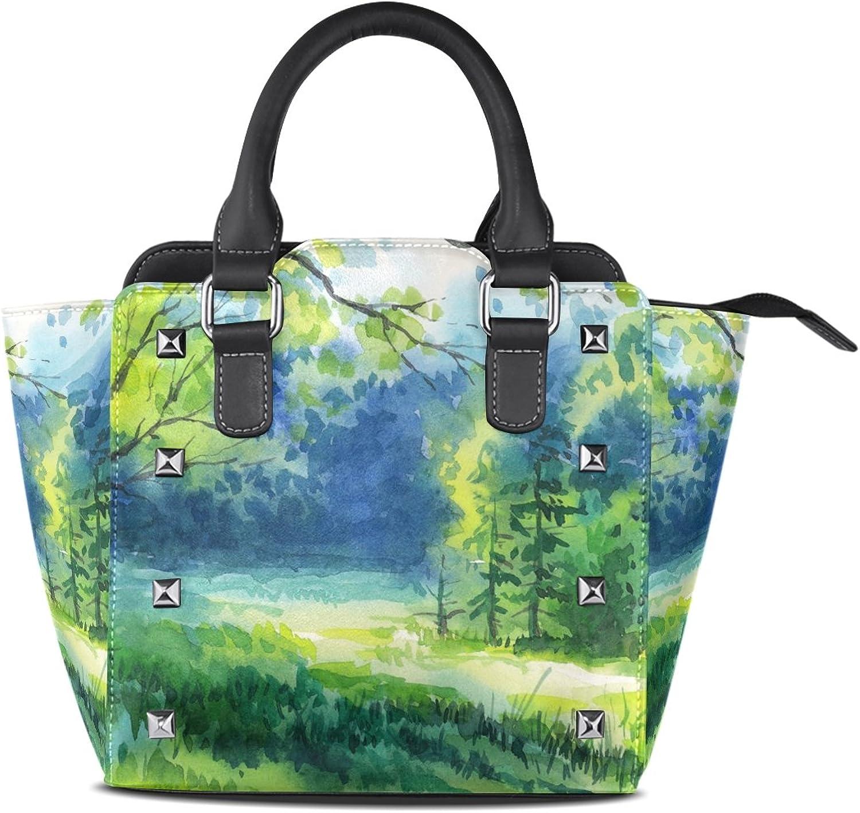 My Little Nest Women's Top Handle Satchel Handbag Summer Forest Watercolor Painting Ladies PU Leather Shoulder Bag Crossbody Bag