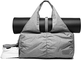 Travel Yoga Gym Bag for Women, Carrying Workout Gear, Makeup, and Accessories, Shoe Compartment and Wet Dry Storage Pockets, Fun Medium,Grey