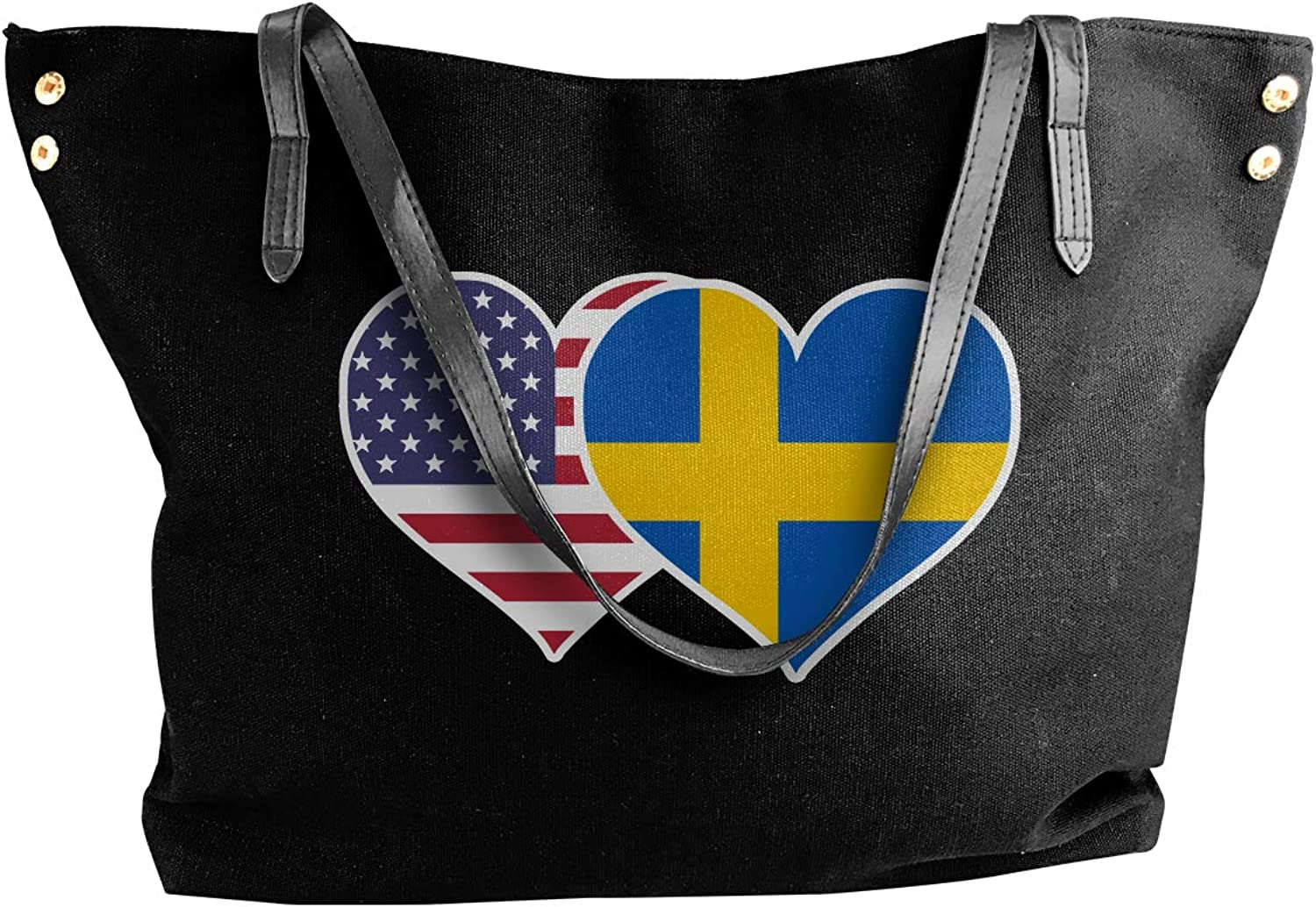 American Swedish Flag Heart Women'S Leisure Canvas Sling Bag For Travel Shoulder Tote
