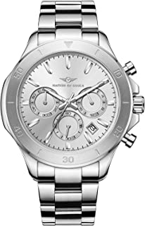 Nation of Souls, Chronograph One | British Designer Watches for Men | Silver Mens Watch, Classic Silver Face
