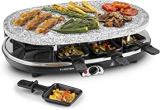 Klarstein All-U-Can Steaklette Raclette - Parrilla de mesa, Barbacoa-Party, 1500W, regulador de temperatura, Plancha de granito, Crepera, plancha para tortitas, 8 mini-sartenes, Negro-plateado