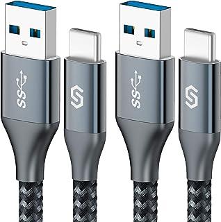 Syncwire USB Type C ケーブル【1.8M/2本セット】USB C ケーブル USB3.0 3A急速充電 三重編組ナイロン 超高耐久 QuickCharge3.0対応 10000+回の曲折テスト タイプc ケーブル