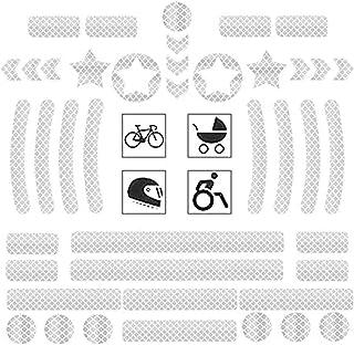 MBQMBSS Reflektoren Aufkleber Sticker 42 Stück Reflexfolie Set selbstklebend zur Sicherungsmarkierung von Kinderwagen,Fahrrad, Helmen mit Stickern, hochreflektierend