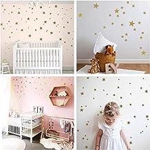 WandSticker4U®- 60x Muurtattoo sterren in goud I Muursticker kinderkamer sterren stickers kinderen I wand deco sterrenheme...