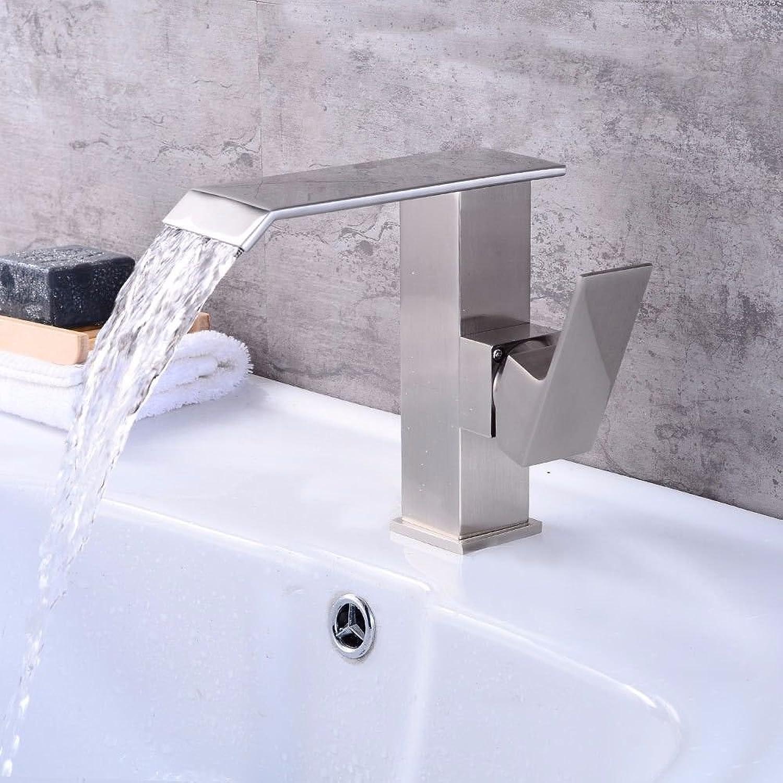 Lalaky Wasserhahn Küche Armatur Waschbecken Wasserfall Bad Wasserhahn Wasserhahn Wasserhahn für Küche Bad und Waschraum Gebürsteter Wasserfall Hei- und Kaltwasser Einlochgriff