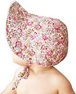 Baby or Toddler Girls Sunbonnet in Eyelet Lace or Floral Print Choices UPF 25+