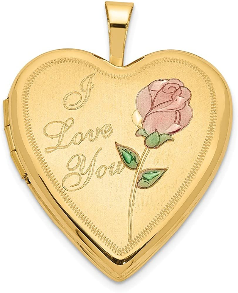 Finejewelers 14k 20mm Enamel Rose I Love You Heart Locket Pendant Necklace 18 inch Chain Included