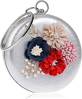 Clutch Handbag Woman Evening Dress Crossbody Bag Ladies Shoulder Bags Dinner Beading Flowers Wallet Wedding Party Prom Cosmetic Bag Pocket (15×5×15cm)
