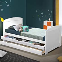 Artiss Single Bed Frame Timber with Storage Drawers and Trundle - White