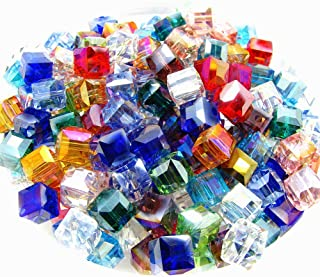 8mm Multicolor Crystal Beads Square Glaze Glass Bead Quartz Loose Beads for DIY Jewelry Making Accessory 100pcs
