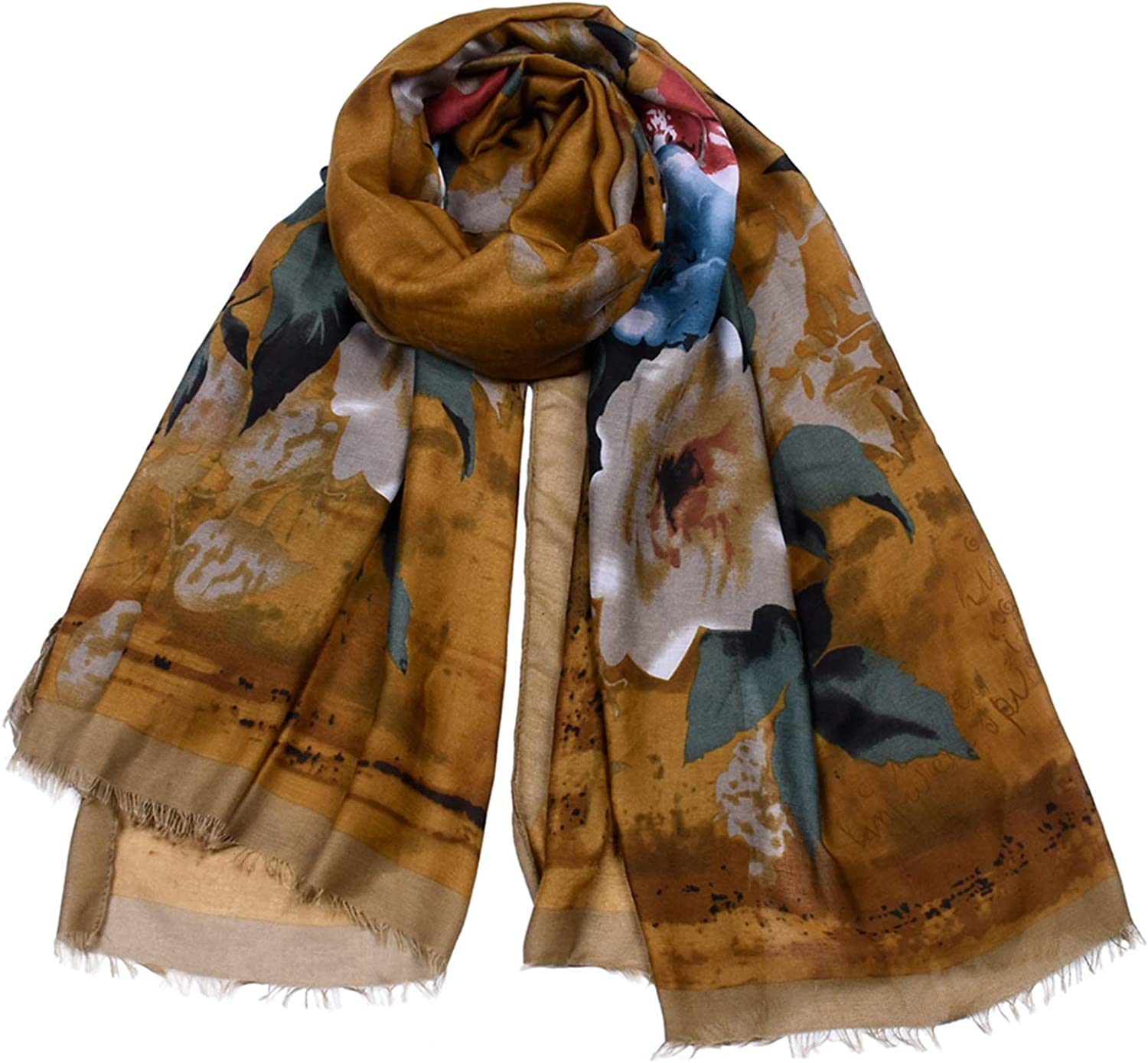 Beautiful Design Fashion Scarf Large Cotton Flower Print Tassel Elegant Shawl for Ladies Four Seasons MultiFunction AntiCold air Conditioning Sunscreen Beach Scarf (color   Camel)