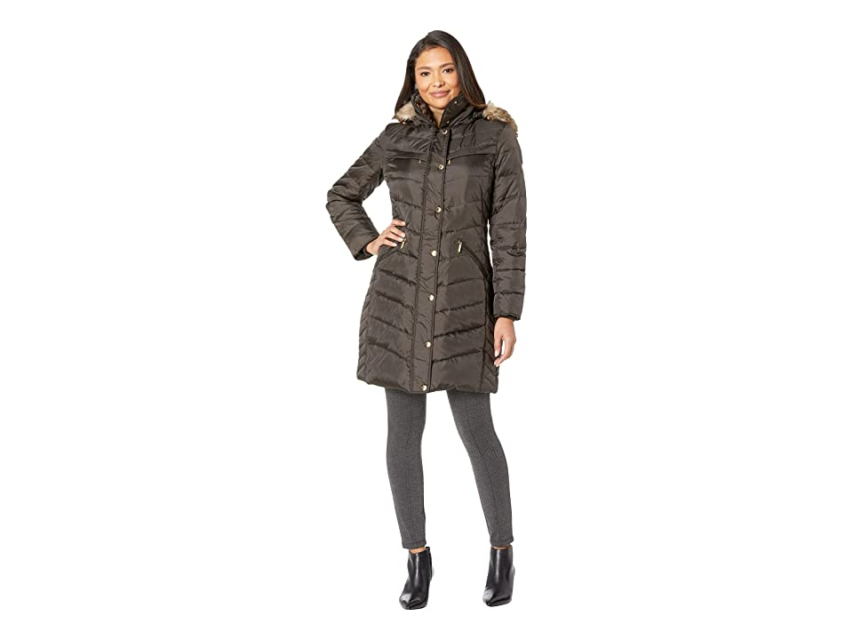 MICHAEL Michael Kors Snap Front Hooded Down M823172GZ (Bark) Women