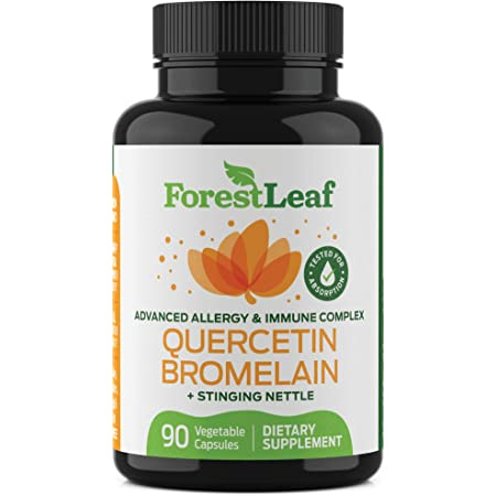 Quercetin 500mg with Bromelain, Vitamin C and Stinging Nettle – Advanced Sinus and Allergy Supplement – Natural Vegetable Capsules – Non GMO, Dairy, Gluten, Egg and Nut Free - by ForestLeaf (90)