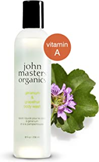 John Masters Organics - Geranium & Grapefruit Body Wash - Gentle Non-Drying Foaming Lather to Cleanse & Soften Skin with Vitamin A & C - 8 oz