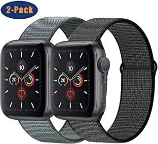 OHCBOOGIE Compatible with Apple Watch Band 38mm 40mm 42mm 44mm, Sport Band Soft Breathable Nylon Replacement for iWatch Series 5/4/3/2/1,2pack