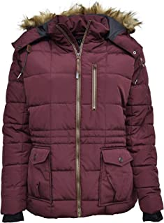 Pulse Womens Plus Size Extended Arrow Down Alt Quilted Parka Anorak Coat