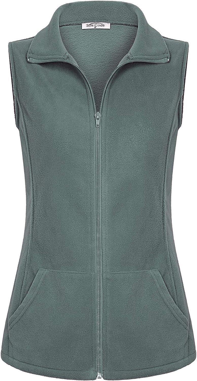 SeSe Code Women's Casual Zip Up Front Lightweight Fleece Vest with Pockets
