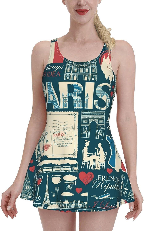 Teal Retro France Paris Map Flag Eiffel Tower Tummy Control Bathing Suits for Women