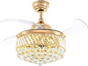 """Moooni Fandelier Crystal Ceiling Fans with Lights and Remote Modern Invisible Retractable Blades Dimmable LED Chandelier Fan Light Kit-Gold 36"""""""