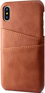 TERSELY iPhone Xs X Wallet Phone Case, Slim PU Leather Back Case Cover with Credit Card Holder for Apple iPhone Xs X 5.8 inch - Brown