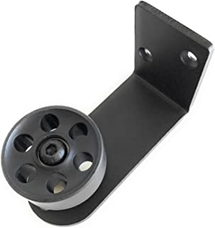 """Barn Door Guide Stay Roller – wall-mounted, flush to floor – classic design – ball-bearing roller – black, cast iron, industrial look – adjustable for doors between 1.5"""" up to 3"""" thick"""