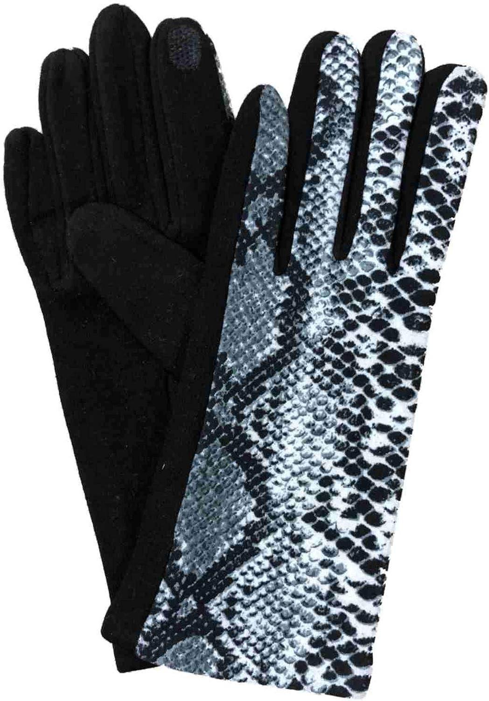 Womens Black & Gray Snake Print Soft Stretch Texting & Tech Touchscreen Gloves