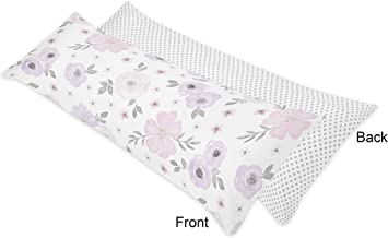 Sweet Jojo Designs Lavender Purple, Pink, Grey and White Polka Dot Body Pillow Case Cover for Watercolor Floral Collection (Pillow Not Included) - Rose Flower Polka Dot