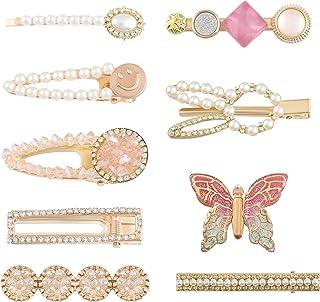 hair accessories Ramadan gifts 9 PCS Fashion Korean Style Rhinestone Hair Clip, Big Thick Hairpins Perfect Hair Accessorie...